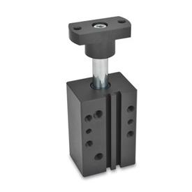 GN 875 Aluminum Pneumatic Swing Clamps, Rectangular Block Style Type: F - Adapter flange