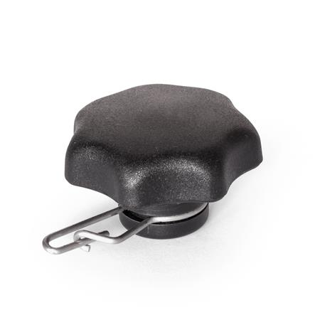 GN 6336.13 Perillas de estrella con protección contra pérdida de plástico tecnopolímero, con inserto roscado de acero inoxidable Tipo: A - Solo con anillo de seguridad