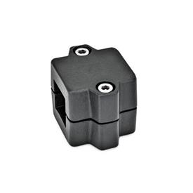 GN 241 Aluminum Split Assembly, Tube Connector Joints Finish: SW - Black, RAL 9005, textured finish<br />Identification No.: 2 - With 2 DIN 912 stainless steel clamping screws