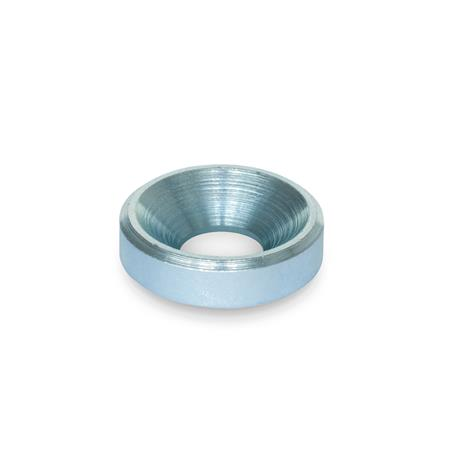 GN 6341 Steel Washers Finish: ZB - Zinc plated, blue passivated finish Type: B - With bore for countersunk screw