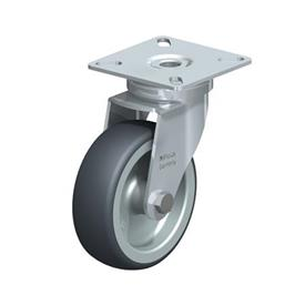LPA-TPA Steel Light Duty Swivel Casters, with Thermoplastic Rubber Wheels and Plate Mounting, Standard Bracket Series Type: G - Plain Bearing