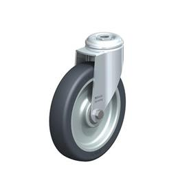 LKRA-TPA Steel Light Duty Swivel Casters, with Thermoplastic Rubber Wheels and Bolt Hole Fitting, Heavy Bracket Series  Type: K - Ball Bearing
