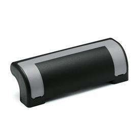 EN 630.2 Jaladeras de seguridad de protección de plástico tecnopolímero, Ergostyle®, con agujeros pasantes avellanados Color de la cubierta: DGR - Gris, RAL 7035, acabado brillante