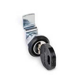 GN 115.1 Loquets à came miniatures / verrous à came miniatures en zinc moulé sous pression, collier de boîtier fini poudré noir Type: SC - Avec clé (clés communes)<br />Finition (collier de boîtier): SW - Noir, RAL 9005, finition texturée