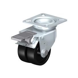 LDA-POA Steel Black Nylon Twin Wheeled Swivel Casters, with Plate Mounting, Standard Bracket Series Type: G-FI - Plain Bearing with Stop-Fix Brake