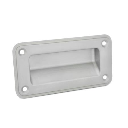 GN 7332 Stainless Steel Gripping Trays, Screw-In Type Type: A - Mounting from the operator's side (for identification no. 2 with four countersunk sealing screws) Identification no.: 1 - Without seal Finish: GS - Matte shot-blasted finish