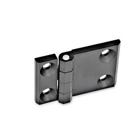 GN 237 Zinc Die-Cast Hinges with Extended Hinge Wing Material: ZD - Zinc die-cast<br />Type: A - 2x2 bores for countersunk screws<br />Finish: SW - Black, RAL 9005, textured finish