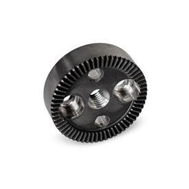 GN 187.4 Placas de bloqueo dentadas de acero Tipo: A - Con agujero roscado d<sub>3</sub> en el centro, con dos agujeros avellanados para tornillos de cabeza