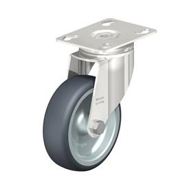 LKPXA-TPA Stainless Steel Light Duty Swivel Casters, with Thermoplastic Rubber Wheels and Heavy Brackets   Type: G - Plain Bearing