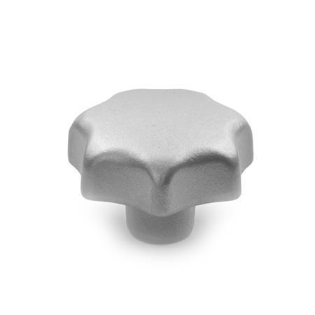 DIN 6336 Perillas de estrella de acero inoxidable AISI CF-8, con orificio pasante o ciego roscado Tipo: E - Con orificio ciego roscado