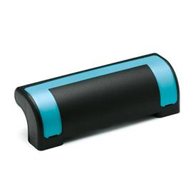 EN 630.2 Technopolymer Plastic Guard Safety Handles, Ergostyle®, with Counterbored Through Holes Color of the cover: DBL - Blue, RAL 5024, shiny finish