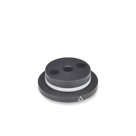 GN 723.3 Taille métrique, aluminium, brides de boutons de commande avec repère de positionnement, pour boutons de commande GN723.4  Type: A - Avec anneau de friction