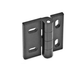 GN 235 Zinc Die-Cast Hinges, Adjustable Material: ZD - Zinc die-cast<br />Type: HB - Horizontal and vertical slots<br />Finish: SW - Black, RAL 9005, textured finish