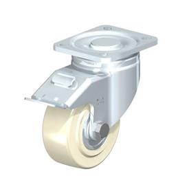 LH-GSPO Steel Medium Duty Cast Nylon Wheel Swivel Casters with Plate Mounting, Heavy Duty Bracket Series Type: K-FI - Ball Bearing with Stop-Fix Brake