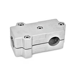 GN 193 Aluminum, Split Assembly, T-Angle Connector Clamps Bore d<sub>1</sub>: B 40<br />Finish: BL - Plain, tumbled finish<br />Identification No.: 2 - with 4 Stainless Steel-clamping screws DIN 912