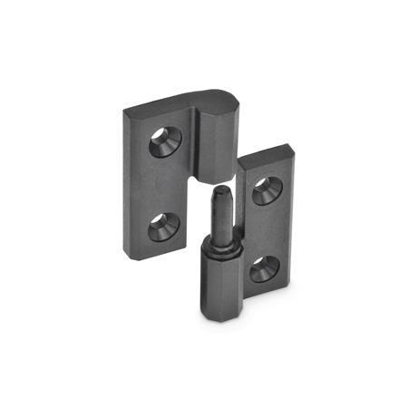 EN 337.1 Bisagras desmontables de plástico tecnopolímero, con orificios avellanados Identificación núm.: 1 - (Perno) de soporte fijo derecho
