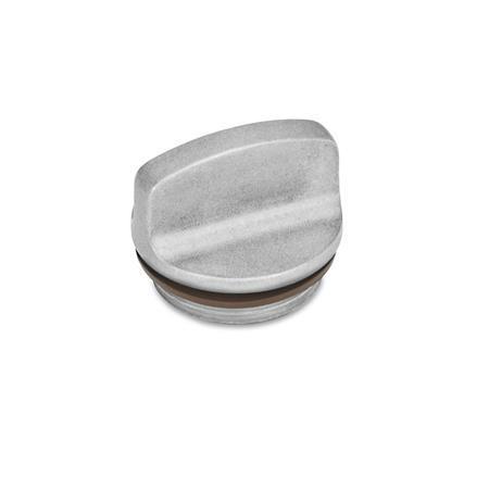 GN 442 Tapones roscados de aluminio, con agarradera, resistente hasta 392 °F Identificación núm.: 1 - Sin perforación para ventilación Color: BL - Liso, acabado pulido
