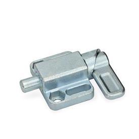 GN 722.3 Pestillos de muelle cuadrados, de acero, con bloqueo, con brida de fijación, en paralelo al pasador de cerrojo Tipo: L - Palanca a la izquierda<br />Acabado: ZB - zincado, acabado pasivado azul