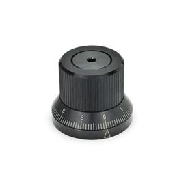 GN 700 Steel Indexing Knobs, with Stepless Positioning Type: S - with standard scale 0...9, 100 graduations, acc. d1/100 A RA 0-10-20...90 / 10