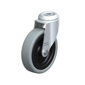 LKRA-VPA Steel Light Duty Gray Rubber Wheel Swivel Casters, with Bolt Hole or Threaded Stud Mounting, Heavy Bracket Series Type: G - Plain Bearing