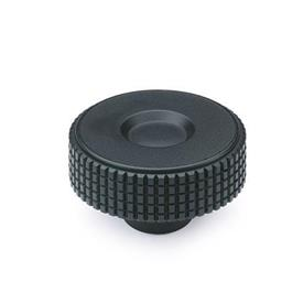EN 534 Technopolymer Plastic Diamond Cut Knurled Knobs, with Brass Tapped or Plain Blind Bore Insert
