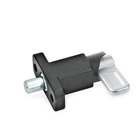 GN 722.2 Steel Square Cam Action Spring Latches, Lock-Out, with Mounting Flange, Right-Angled to the Latch Pin Type: B - Latch position parallel to mounting holes<br />Finish: SW - Black, RAL 9005, textured finish