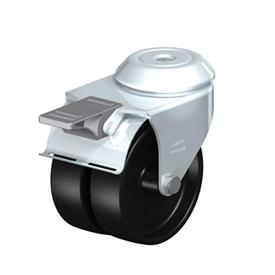 LMDA-POA Steel, Black Nylon Twin Wheeled Swivel Casters with Bolt Hole Mounting, Standard Bracket Series Type: G-FI - Plain Bearing with Stop-Fix Brake