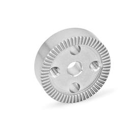 GN 187.4 Placas de bloqueo dentadas de acero inoxidable Tipo: D - Con agujero d<sub>4</sub> en el centro, con dos agujeros roscados para atornillar