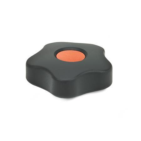EN 5331 Perillas de cinco lóbulos de plástico tecnopolímero, con inserto cuadrado o roscado de latón, tipo bajo, con tapones de cubierta de colores Tipo: B - Con tapón de la cubierta Color del tapón de la cubierta: DOR - Naranja, RAL 2004, acabado mate
