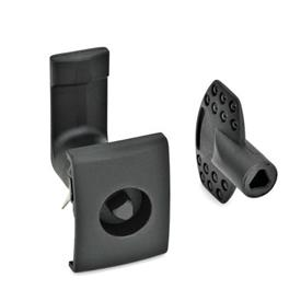 EN 115.5 Technopolymer Plastic Cam Latches, for Snap-Fit Mounting Type: DK - Operation with triangular spindle (DK6.5)<br />Finish: SW - Black, RAL 9005, textured finish<br />Identification no.: 2 - Latch housing with  rectangular stop