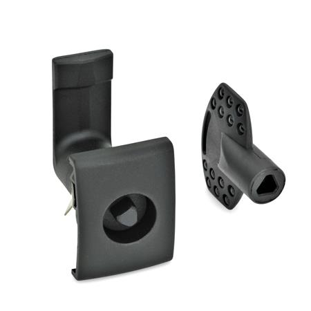 EN 115.5 Technopolymer Plastic Cam Latches, for Snap-Fit Mounting Type: DK - Operation with triangular spindle (DK6.5) Finish: SW - Black, RAL 9005, textured finish Identification no.: 2 - Latch housing with  rectangular stop