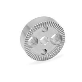 GN 187.4 Placas de bloqueo dentadas de acero inoxidable Tipo: B - Con agujero d<sub>4</sub> en el centro, con dos agujeros avellanados para tornillos de cabeza