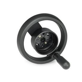 EN 522.8 Technopolymer Plastic Two Spoked Handwheels for Position Indicators EN 000.8 / EN 000.3 Type: D - With revolving handle