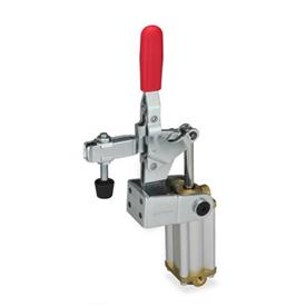 GN 862.1 Steel Pneumatic Toggle Clamps, with Vertical Mounting Base, with Additional Manual Operation Type: CPV3S - U-bar version, with two flanged washers and GN 708.1 spindle assembly