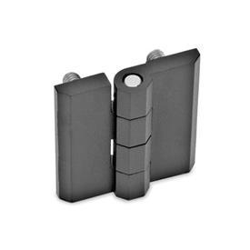 GN 237 Bisagras de zinc fundido a presión o aluminio, con orificios avellanados o espárragos roscados Material: ZD - Zinc fundido a presión<br />Tipo: C - 2x2 espárragos roscados<br />Acabado: SW - Negro, RAL 9005, acabado texturizado