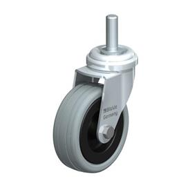 LRA-VPA Steel, Gray Rubber Wheel Swivel Casters with Bolt Hole Mounting, Standard Bracket Series Type: G-GS - Plain Bearing with Threaded Stem