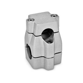 GN 135 Aluminum Two-way connector clamps, multi part assembly, unequal bore dimensions Bore d<sub>1</sub>: B 30<br />Finish: BL - Plain, tumbled finish