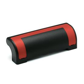 EN 630.2 Jaladeras de seguridad de protección de plástico tecnopolímero, Ergostyle®, con agujeros pasantes avellanados Color de la cubierta: DRT - Rojo, RAL 3000, acabado brillante