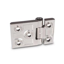 GN 237.3 Stainless Steel Heavy Duty Hinges, with Extended Hinge Wing Material: NI - Stainless steel<br />Type: B - With bores for countersunk screws with centering guides<br />Finish: GS - Matte shot-blasted finish