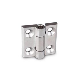 GN 237.3 Stainless Steel Heavy Duty Hinges, with Countersunk Bores, with or without Centering Guides Material: NI - Stainless steel<br />Type: A - With bores for countersunk screws<br />Finish: GS - Matte shot-blasted finish