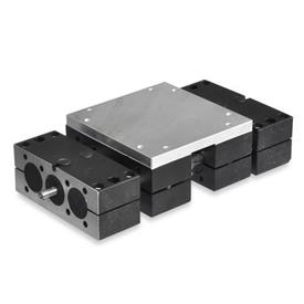 GN 492 Steel Double Tube Linear Actuators, with Right '''or''' Left Hand Thread, Double Slider
