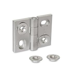 GN 127 Stainless Steel Hinges, Adjustable, with Alignment Bushings Material: A4 - Stainless steel <br />Type: HB - Horizontal and vertical slots