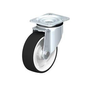 LK-POTH Steel Medium Duty Swivel Caster with Polyurethane Treaded Wheel, with Plate Mounting, Medium-Heavy Duty Bracket Series Type: K - Ball Bearing