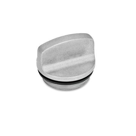 GN 441 Tapones roscados de aluminio, con agarradera, resistente hasta 212 °F Identificación núm.: 1 - Sin perforación para ventilación Color: BL - Liso, acabado pulido
