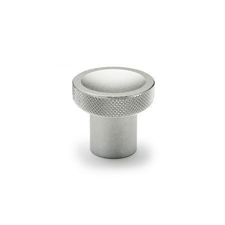 GN 676.5 Perillas de presión / tracción de acero inoxidable, con agujero ciego roscado, borde liso o moleteado Tipo: B - Con estrías