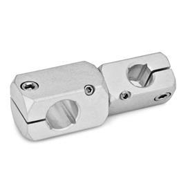 GN 475 Mini-abrazaderas de conectores de dos vías, ajustables, de aluminio Acabado: MT - Acabado liso, pulido mate