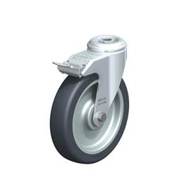 LKRA-TPA Steel Light Duty Swivel Casters, with Thermoplastic Rubber Wheels and Bolt Hole Fitting, Heavy Bracket Series  Type: K-FI - Ball Bearing with Stop-Fix Brake