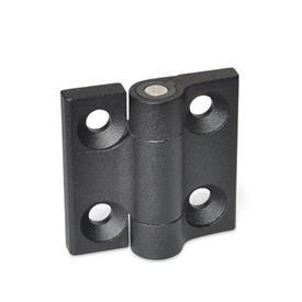 GN 437.4 Bisagras de zinc fundido a presión, con 4 posiciones de indexado Color: SW - Negro, RAL 9005, acabado texturizado