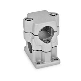 GN 141 Aluminum, Multi-Part Assembly, Flanged Two-Way Connector Clamps, Round and/or Square Bore Type   Bore d<sub>1</sub>: B 40<br />Finish: BL - Plain, tumbled finish