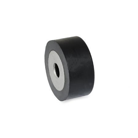 75mm Diameter JW Winco 451-75-55-M12-ES-55 Series GN 451 Rubber Type ES Cylindrical Vibration Isolation Mount with 1 Tapped Hole and 1 Threaded Stud 55mm Height J.W Metric Size Winco Inc.